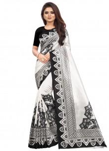 Black and White Abstract Print Raw Silk Saree