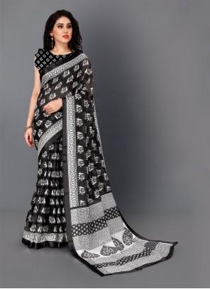 Black and White Cotton Classic Saree