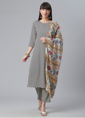 Black and White Engagement Crepe Silk Party Wear Kurti