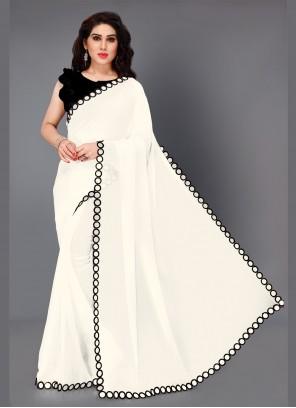 Black and White Mirror Trendy Saree
