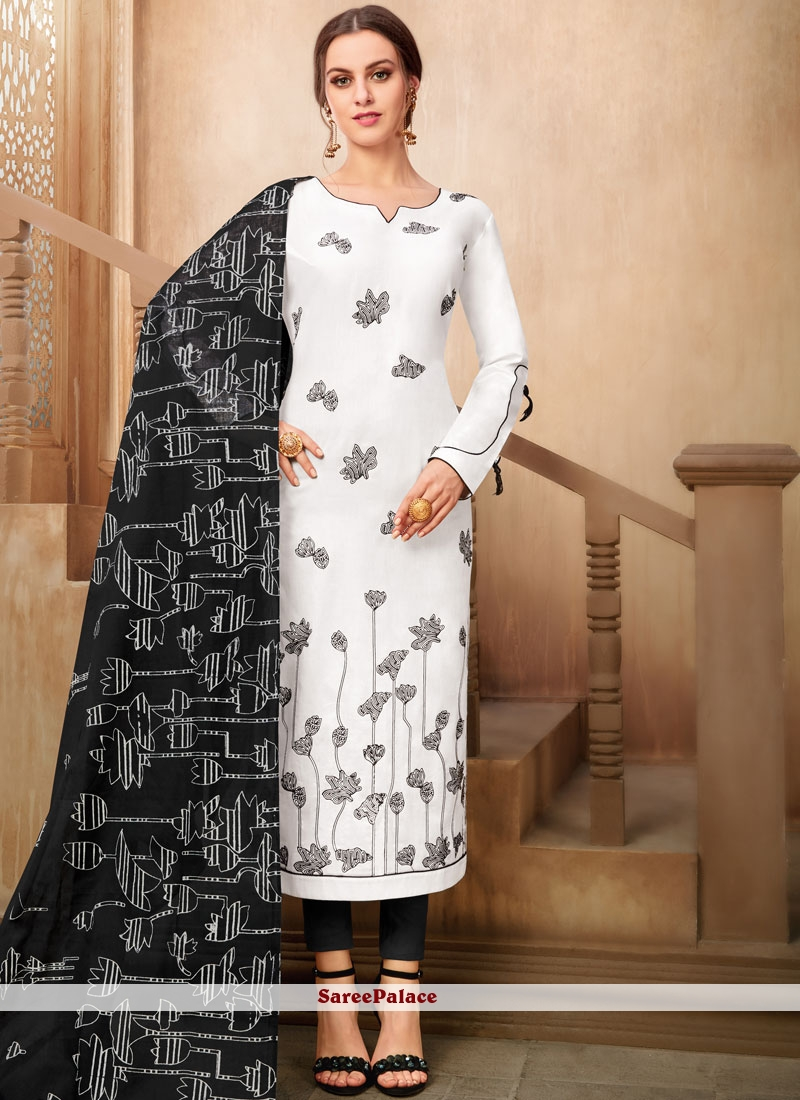 Black and White Printed Cotton Pant Style Suit