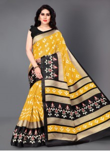 Black and Yellow Color Classic Saree