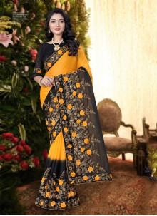 Black and Yellow Festival Silk Trendy Saree
