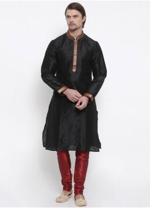 Black Art Dupion Silk Engagement Kurta Pyjama