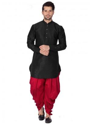 Black Art Dupion Silk Mehndi Kurta Pyjama