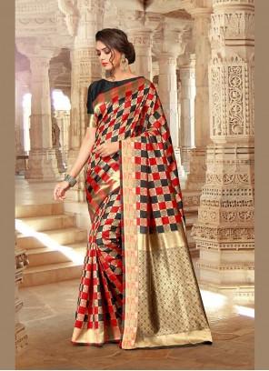 Black Art Silk Ceremonial Designer Traditional Saree