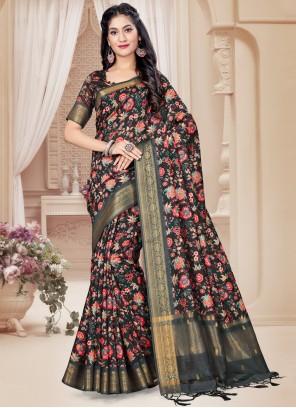 Black Art Silk Festival Printed Saree