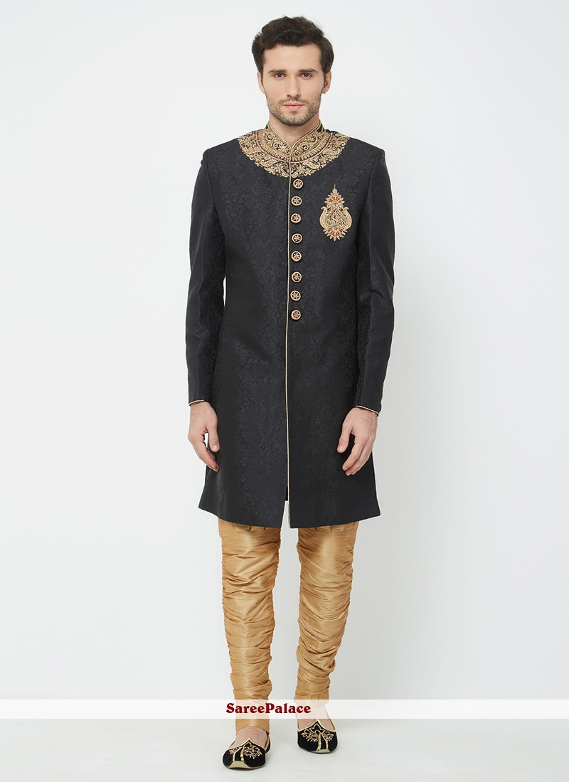 6978e62ca3 Buy Black Art Silk Machine Embroidery Indo Western Sherwani Online