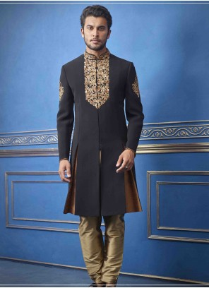 Black Art Silk Mehndi Sherwani