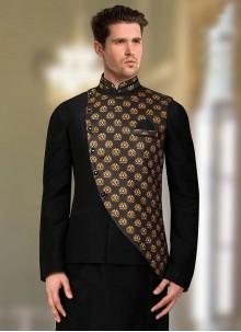 Black Art Silk Party Nehru Jackets