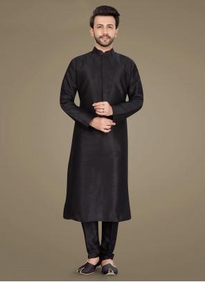 Black Art Silk Plain Kurta Pyjama