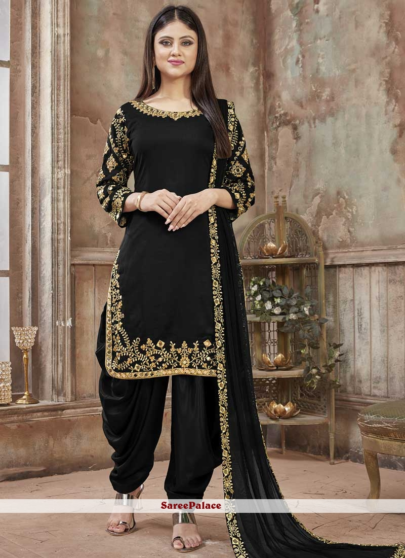 Black Art Silk Resham Designer Patiala Salwar Kameez