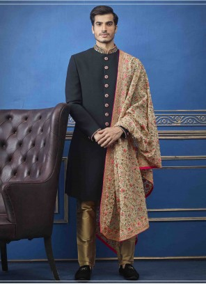 Black Art Silk Sherwani