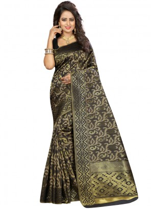 Black Art Silk Traditional Saree
