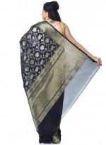 Black Banarasi Silk Classic Designer Saree