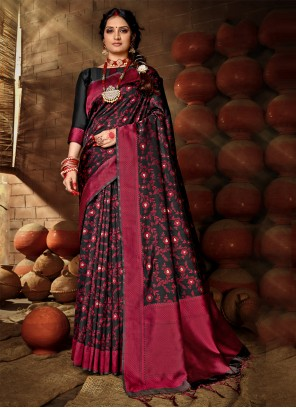 Black Banarasi Silk Festival Traditional Designer Saree