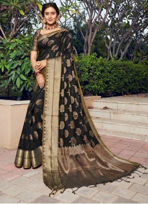 Black Banarasi Silk Reception Designer Traditional Saree