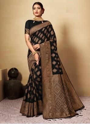 Black Banarasi Silk Weaving Classic Designer Saree