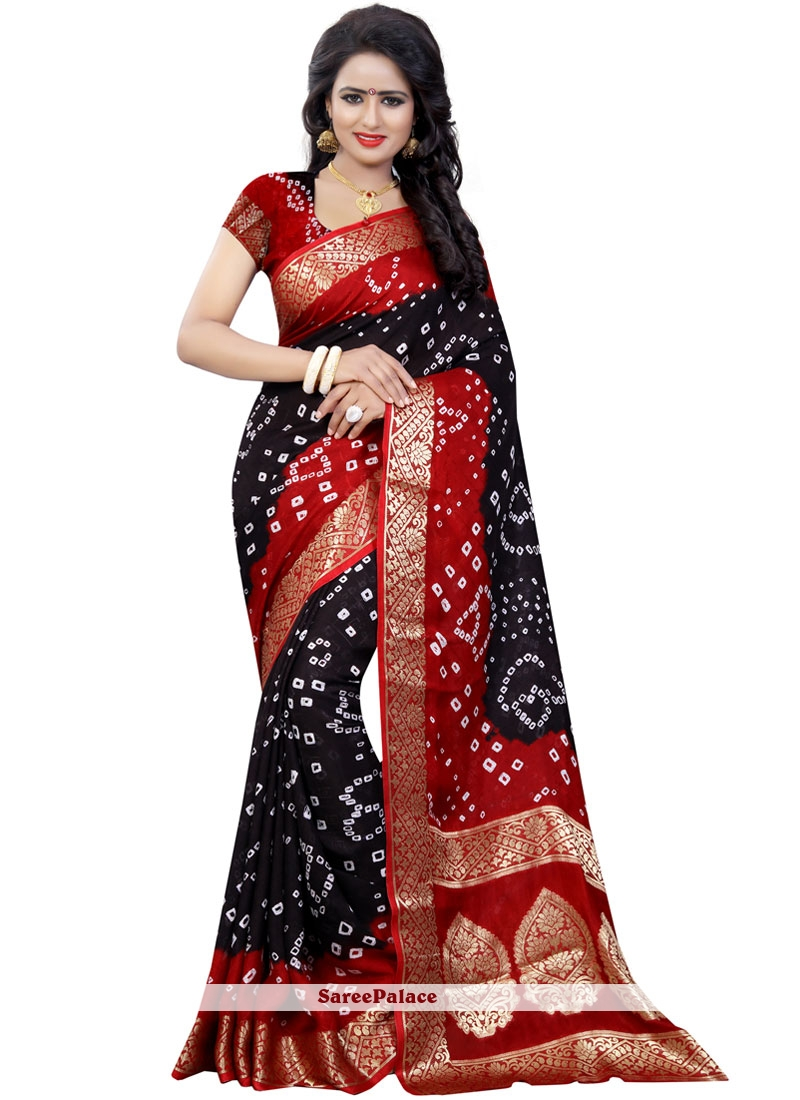 6a15b25413 Buy Black Bandhej Work Bandhani Saree Online