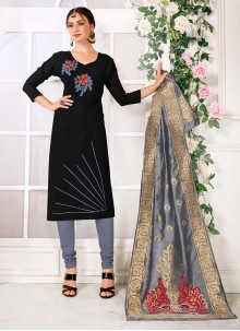 Black Casual Cotton Churidar Suit