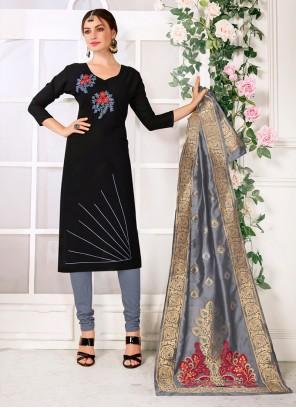 Black Casual Cotton Churidar Suit