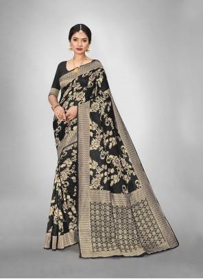 Black Art Silk Casual Trendy Saree
