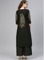 Black Ceremonial Cotton Designer Palazzo Suit