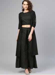 Black Ceremonial Cotton Designer Palazzo Suit