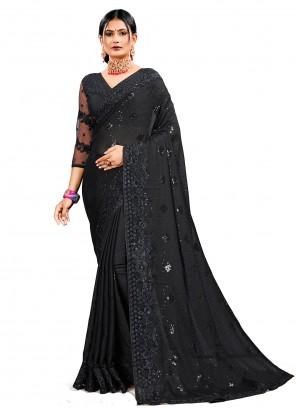 Black Ceremonial Georgette Satin Designer Saree