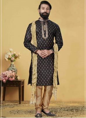 Black Ceremonial Jacquard Silk Kurta Pyjama