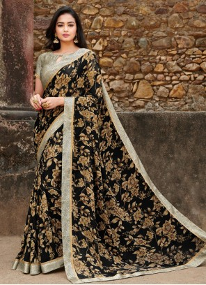 Black Ceremonial Satin Silk Saree