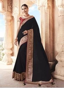 Black Ceremonial Silk Designer Traditional Saree