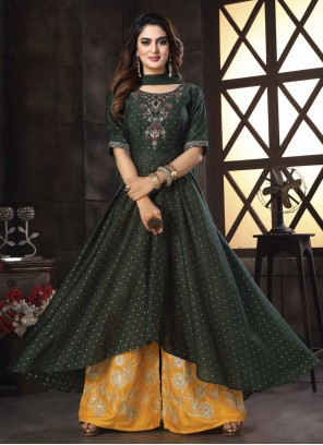Black Chanderi Embroidered Readymade Suit
