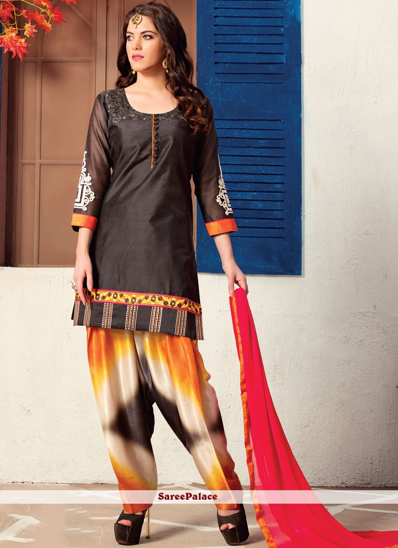 Black Chanderi Readymade Suit