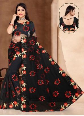 Black Classic Embroidered Designer Saree