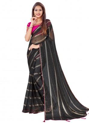 Black Fancy Work Classic Saree