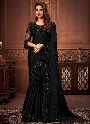 Black Color Embroidered Designer Saree