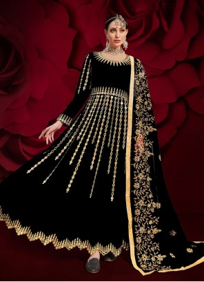 Black Color Floor Length Anarkali Suit