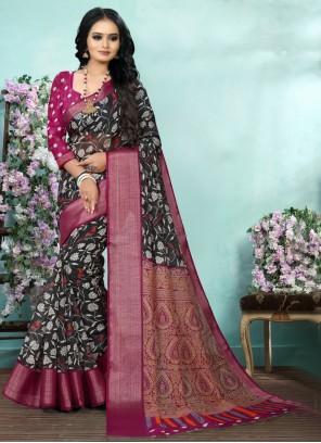Black Color Printed Saree