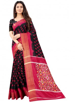 Black Color Printed Saree For Festival