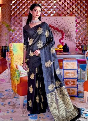 Black Color Weaving Naylon Traditional Saree