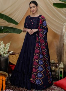 Black Sequins Silk Trendy Gown