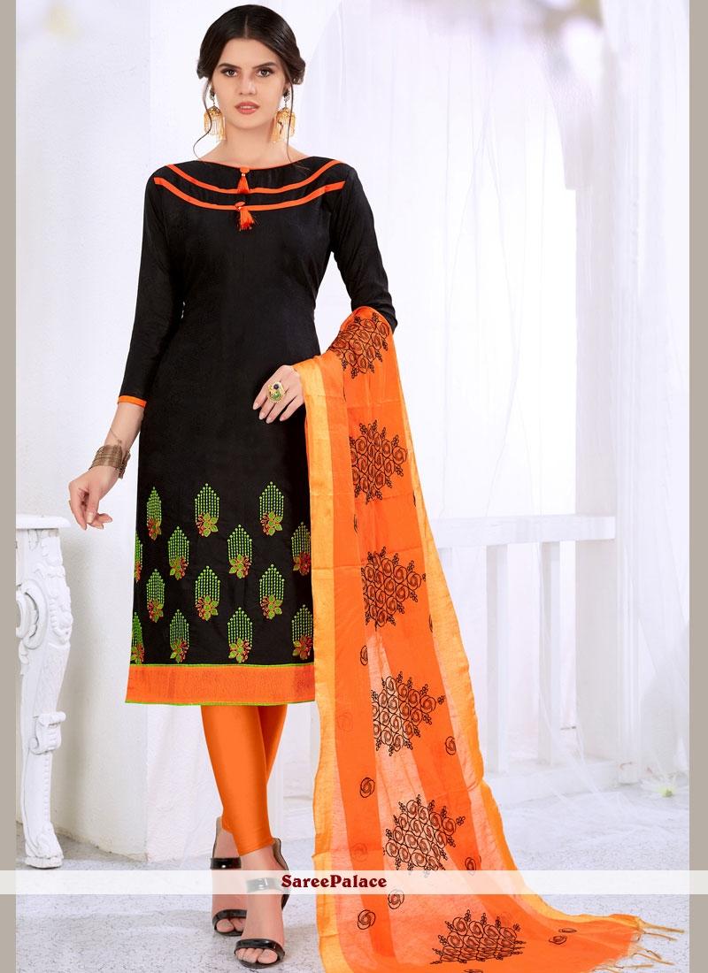 Black Cotton   Casual Churidar Suit
