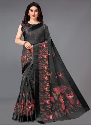 Black Cotton Ceremonial Printed Saree