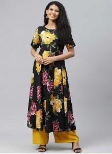Black Cotton Designer Kurti