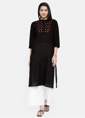 Black Cotton Embroidered Casual Kurti
