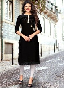 Black Cotton Embroidered Party Wear Kurti