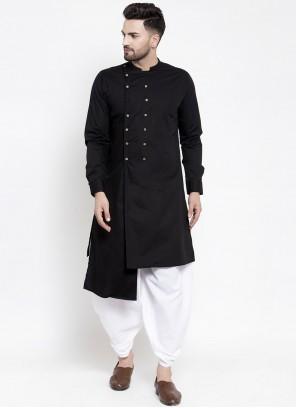 Black Cotton Engagement Indo Western