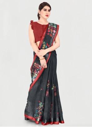 Black Cotton Festival Printed Saree