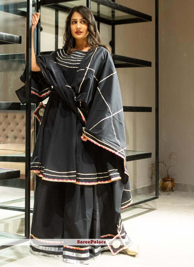 Black Cotton Lehenga Choli